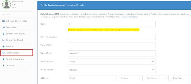 Cara Verfikasi Akun Bitcoin.co.id