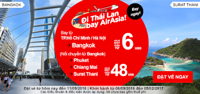 Đặt mua vé máy bay đi Bangkok của Air Asia