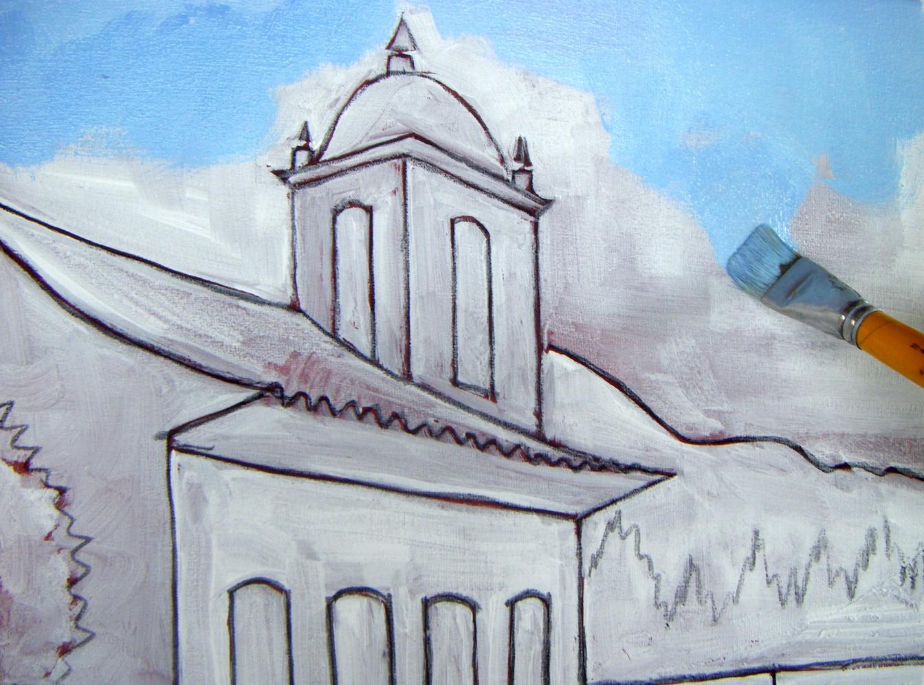 Pintando em tela pintando um casario passo a passo - Pinturas para pintar tela ...