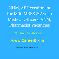 NHM, AP Recruitment for 1800 MBBS & Ayush Medical Officers, ANM, Pharmacist Vacancies