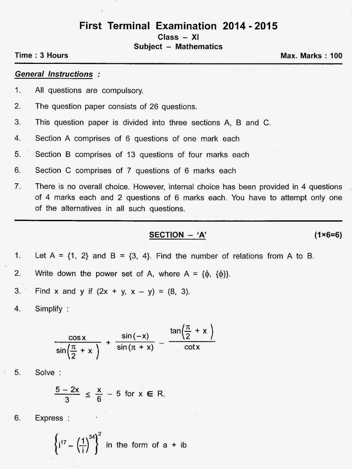 Class Xi Amity International School First Term Maths