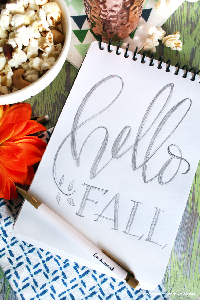 hello fall, hand lettering, sketchbook, fall snack ideas, on the go