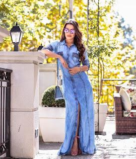 vestido longo em jeans