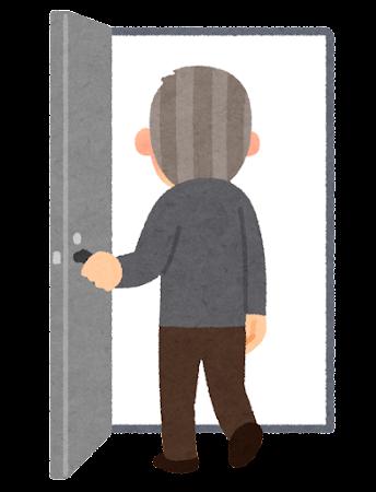ドアへ入る人のイラスト(おじいさん)