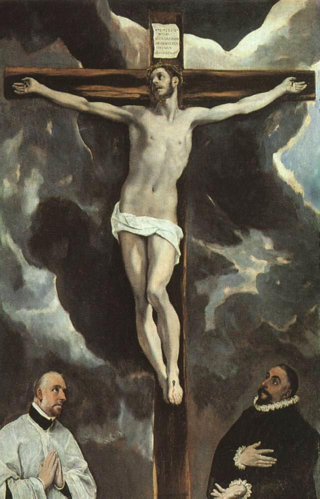Cristo na Cruz Sendo Adorado - El Greco e suas principais pinturas ~ Maneirismo