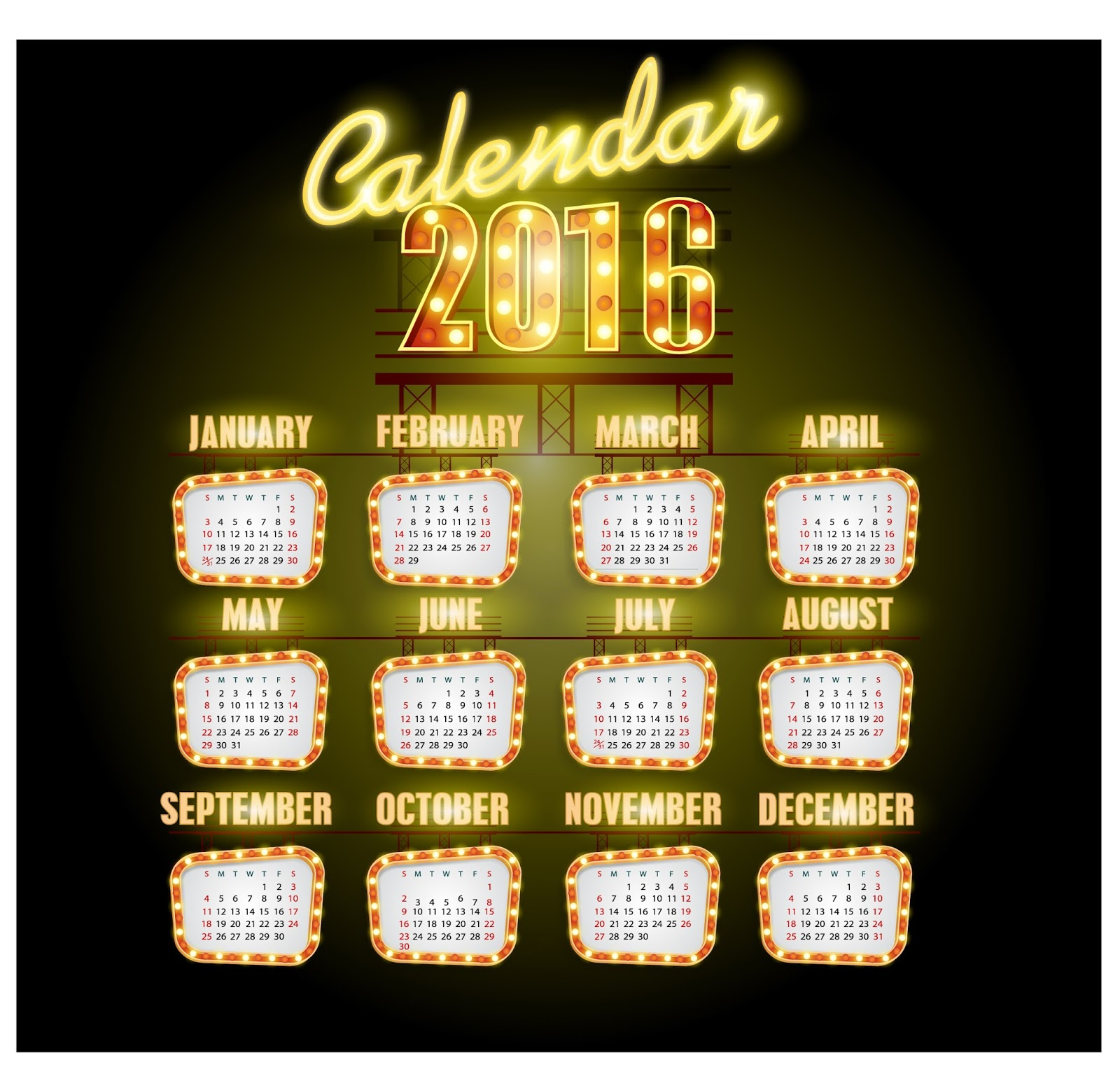 2016 calendar organizer template year monthly daily design week vector date day schedule time business graphic calender agenda month annual illustration january december april june march november july august february english calendario october