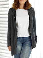 Plus Size Asymmetrical Zipper Up Hoodie - Deep Gray