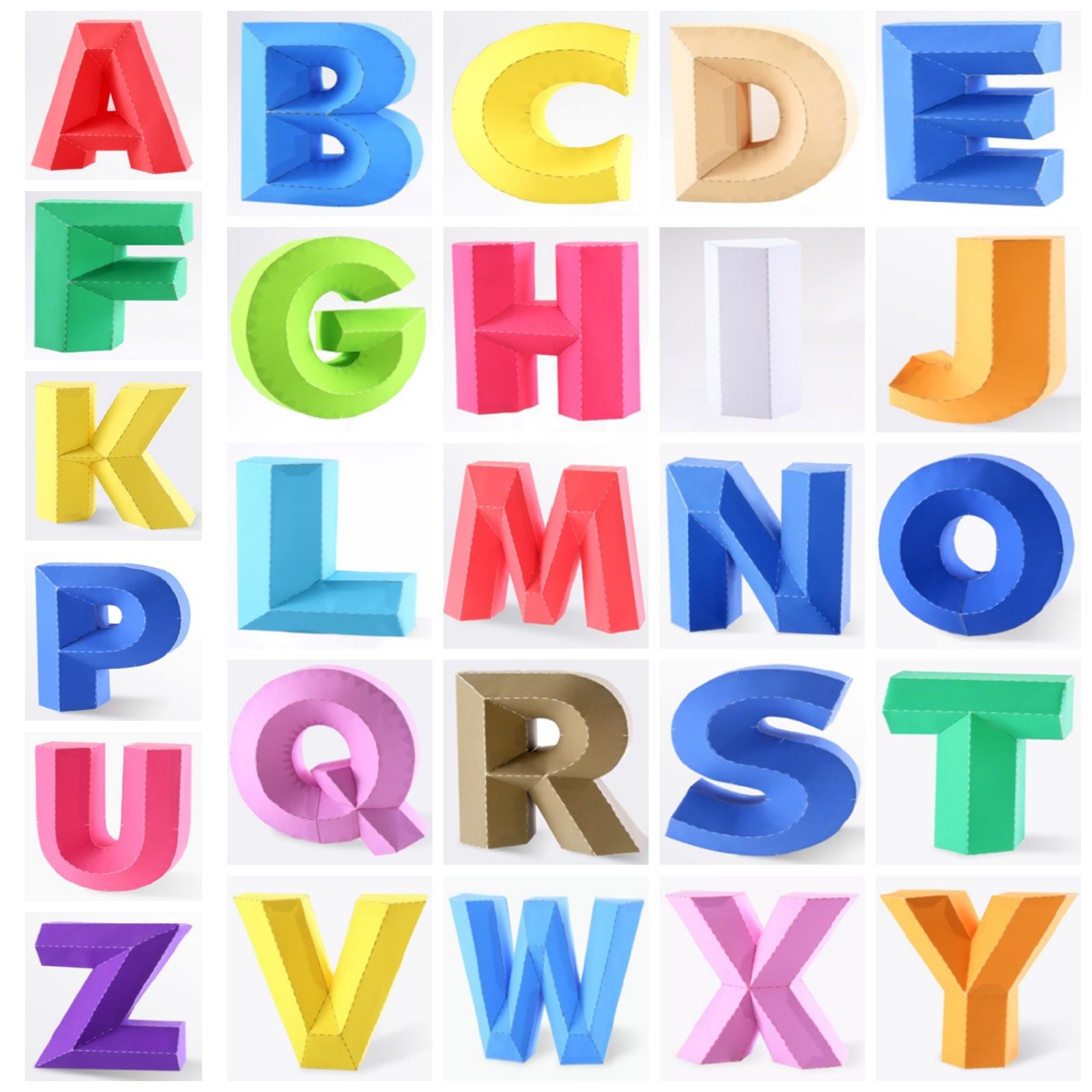 Papercraft recortable de un abecedario. Manualidades a Raudales.