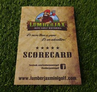 Scorecard from Lumberjax Mini Golf