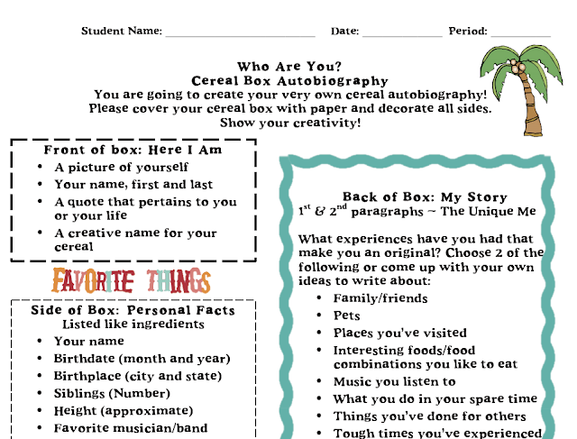 Box Project Template Biography Cereal