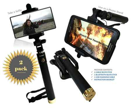 Premium Bluetooth Selfie Stick and Wired Selfie Stick Extendable with Built in Remote and Adjustable Phone Holder the Best Self-Portrait Monopod
