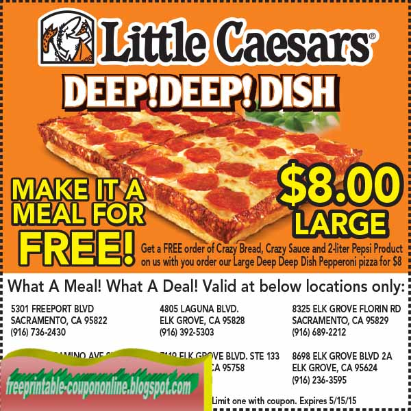 Free 2 Liter Pepsi with Pizza Online Purchase. Must add the Pepsi. Available at participating Little Caesars stores in the 50U.S. (D.C.), excluding stadium, Kmart and Little Caesars Express locations and only on mobile app and online orders of a pizza (excluding LunchCombo) with valid promo increases-past.ml while supplies last.