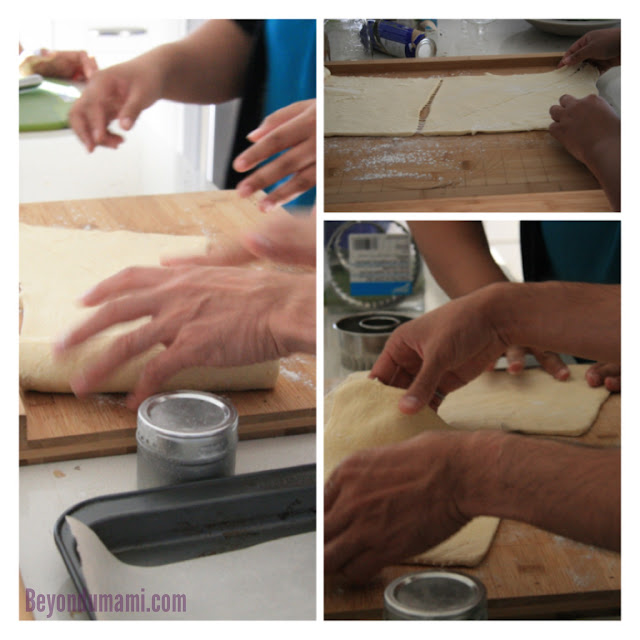 Three images showing the rolling out of Pillsbury dough.