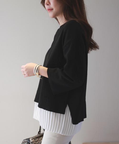 Dropped Shoulder Bracelet Sleeve Sweater