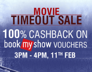 Bookmyshow Voucher 100% cashback Use Cashback