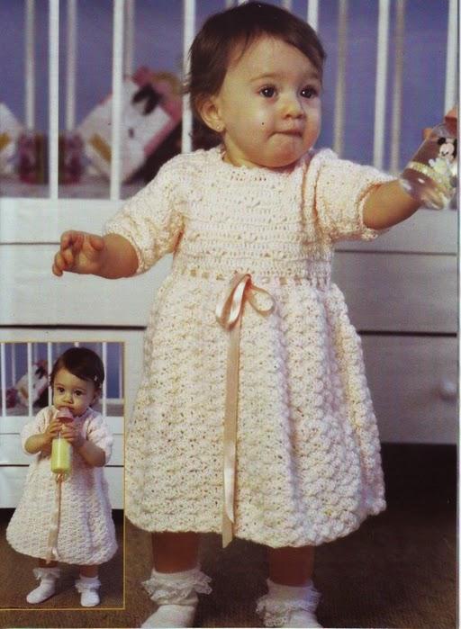 Vestido de niña al crochet con moldes y patrones