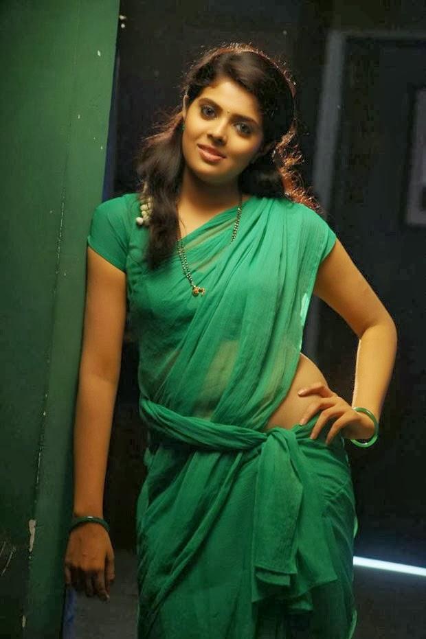 Actress Shravya Hot Spicy Navel Show In Green Saree