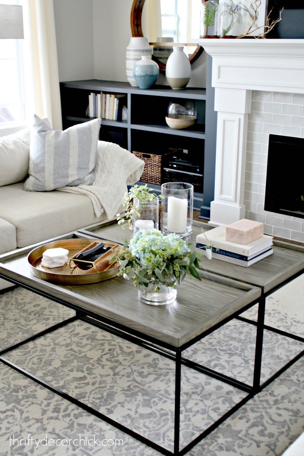 Using two long coffee tables together to make a large one