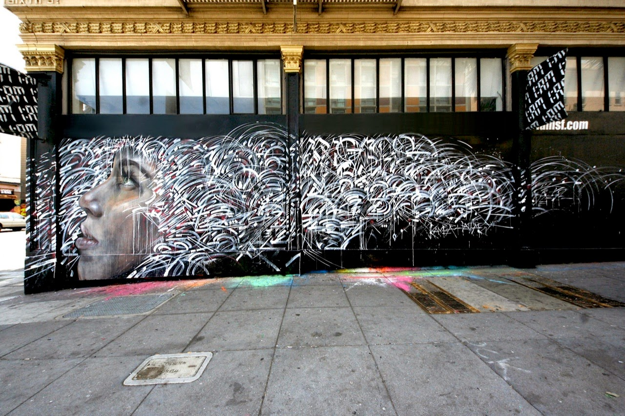 """During POW! WOW! Hawaii 2014, artists Kamea Hadar and Defer (K2S) collaborated on a mural that marked the start of a year-long series of collaborative walls, gallery shows and other creative projects between the two artists entitled """"Paradise Lost""""."""