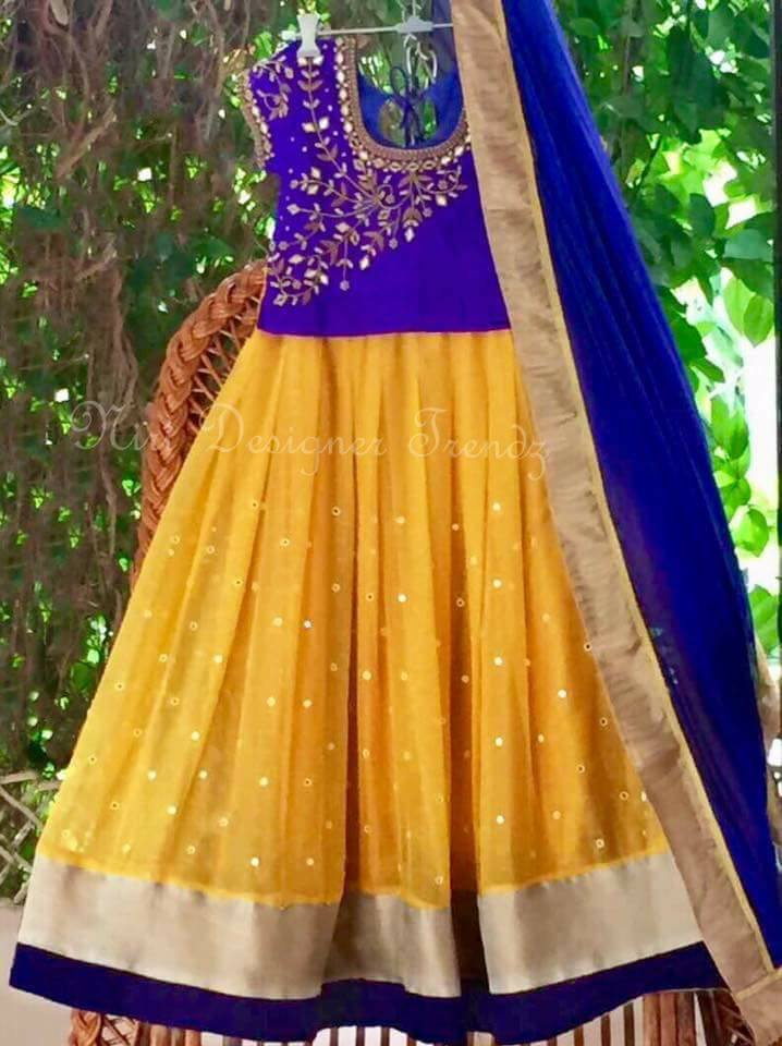 Yellow Purple Mirror Work Lehenga