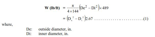 equation nominal wt casing specification