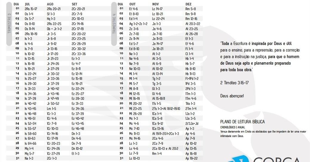 Bíblias Eletrônicas: Plano de Leitura Bíblica Anual em pdf