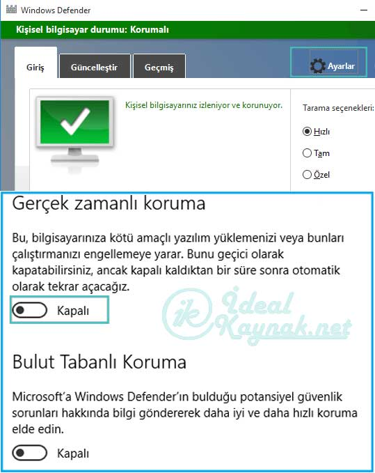 Windows Defender Kapatma