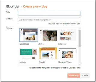 Create a free blog in Blogger