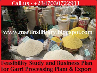 BUSINESS PLAN ON GARRI PROCESSING PLANT