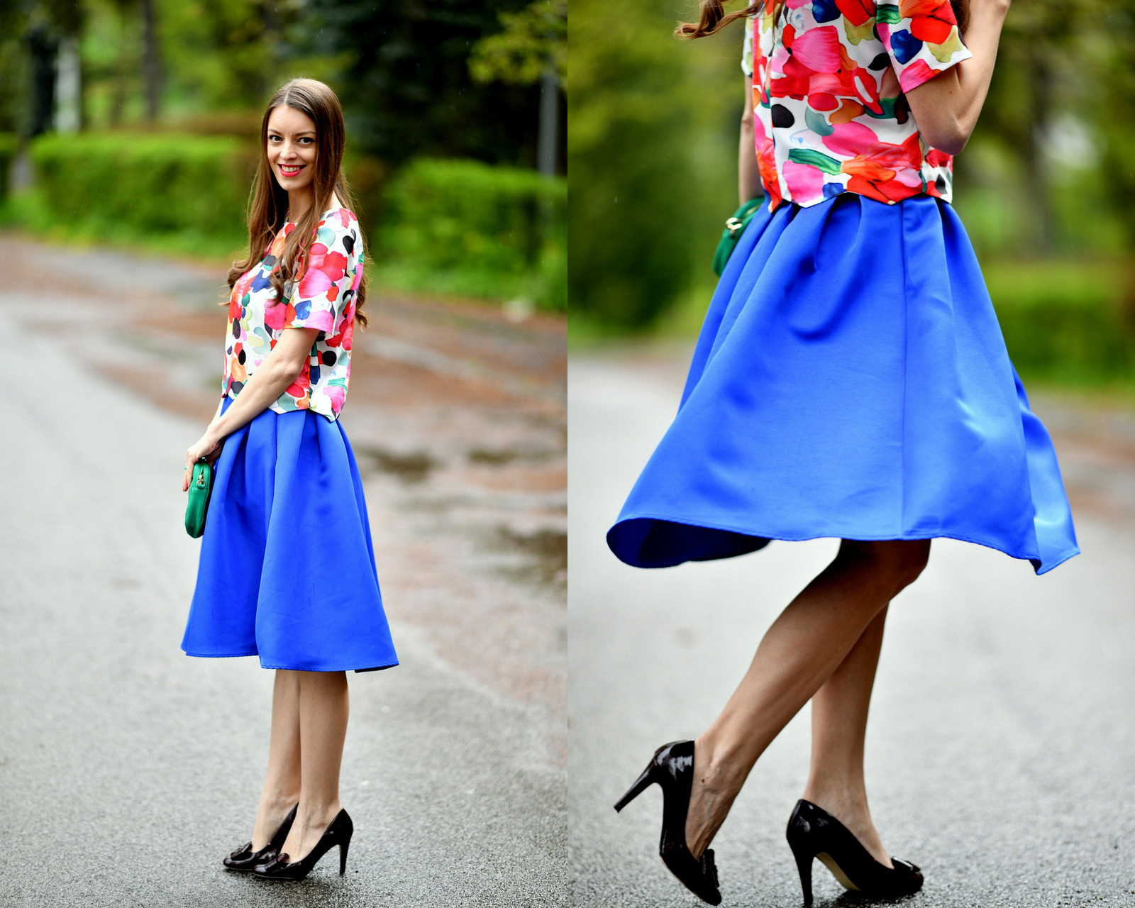 pestrofarebný jarný outfit // blue midi skirt with floral crop top