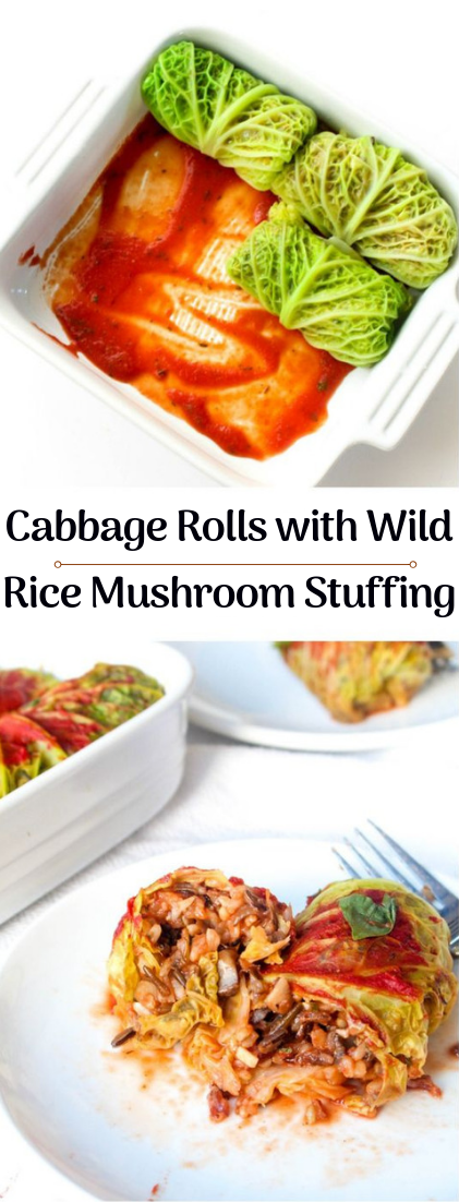Cabbage Rolls with Wild Rice Mushroom Stuffing