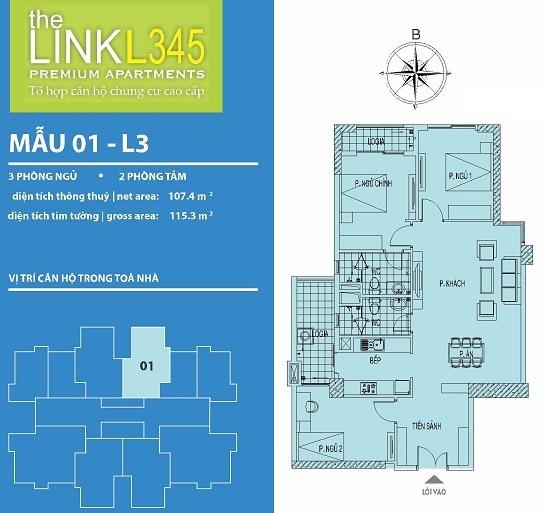 Mặt bằng thiết kế căn hộ tại chung The Link 345 Ciputra Nam Thăng Long