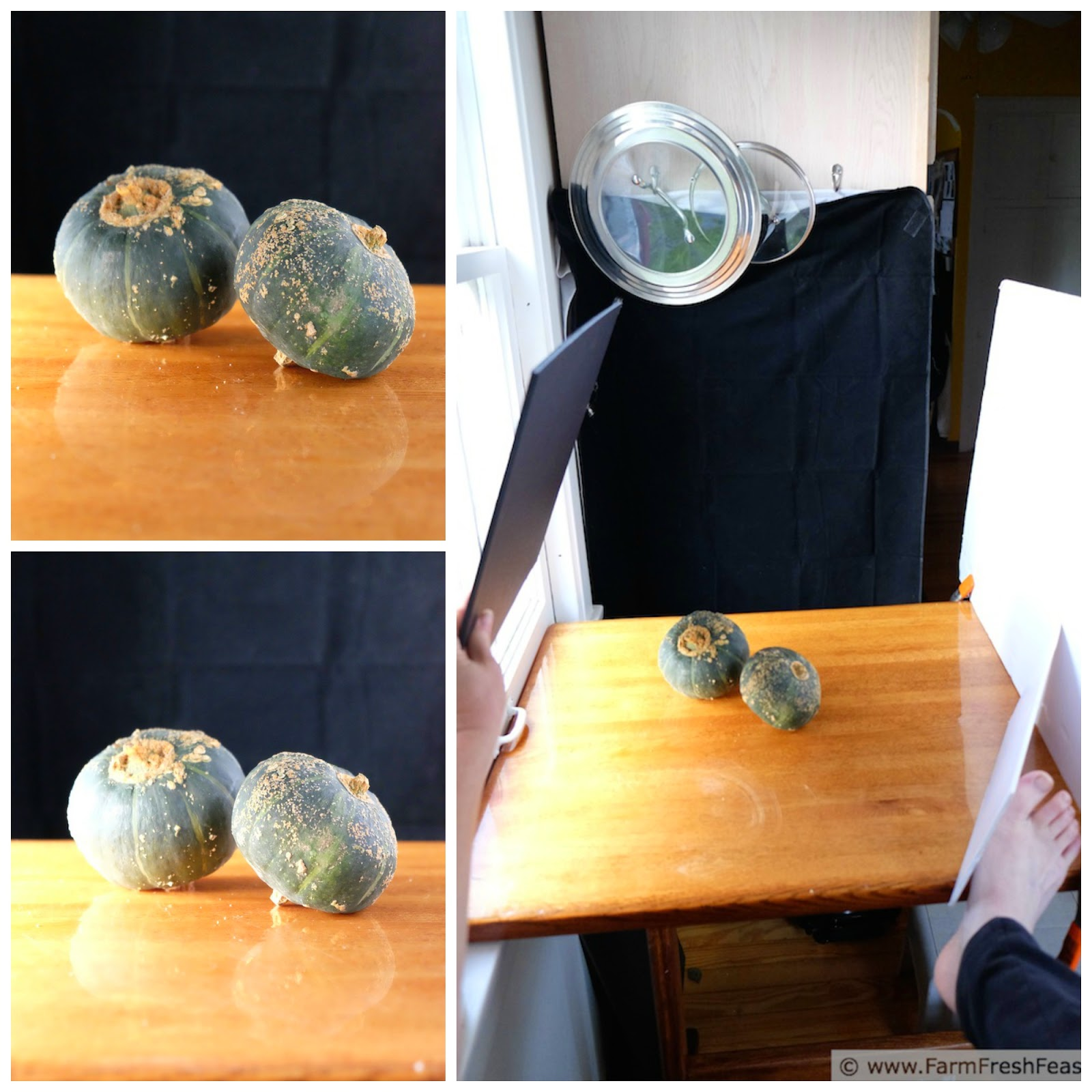 collage photo showing behind the scenes, how to photograph buttercup squash on a sunny day