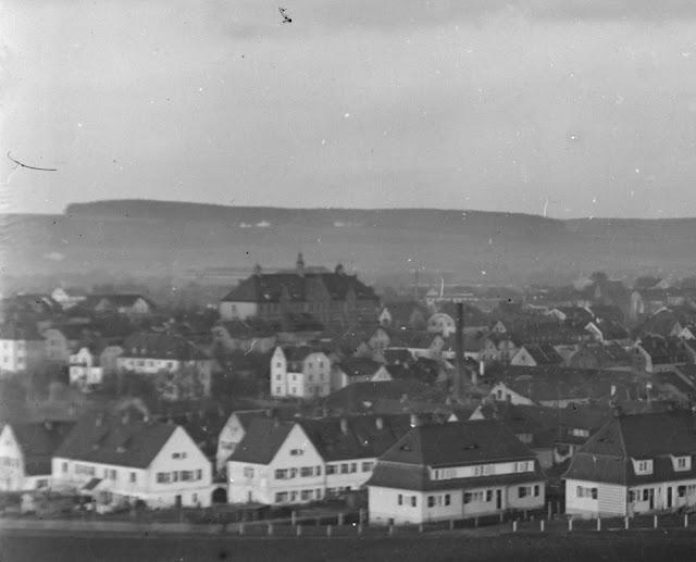 Detail der Stadtansicht Ansbach, Mittelfranken - um 1930 - Im Zentrum die Luitpoldschule