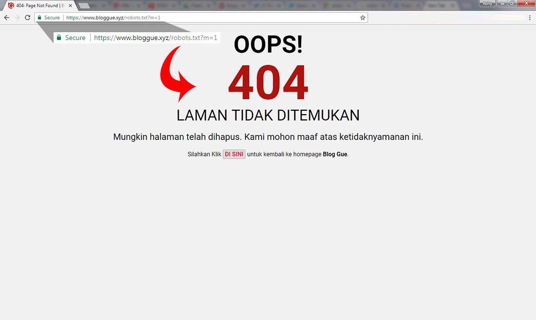 Robots.txt Blogger Error 404 Di URL Mobile M=1, Tidak Jadi Masalah