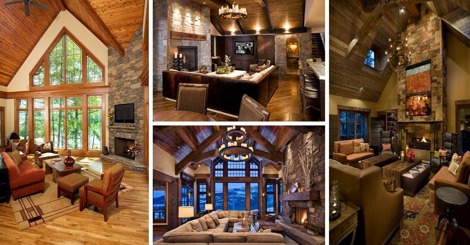 Rustic living room with Large windows bring the outdoors ...