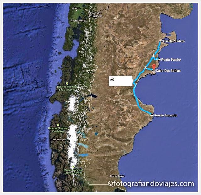 mapa costa este de Patagonia argentina