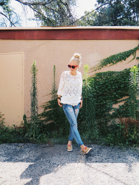 Zaful open work appliqué top, Birds of a Feather Designs raw opal necklace, Lazuli Handcrafted raw stone stacking rings, ZeroUV red heart sunglasses, Bucketfeet slip on shoes, casual outfit, summer outfit