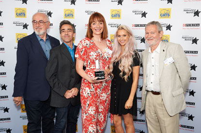 National Cat of the Year (Theo) Charlotte Dixon, Peter Egan, Andrew Collins, Jessica-Jane Stafford, Paul Copley, Cats Protection