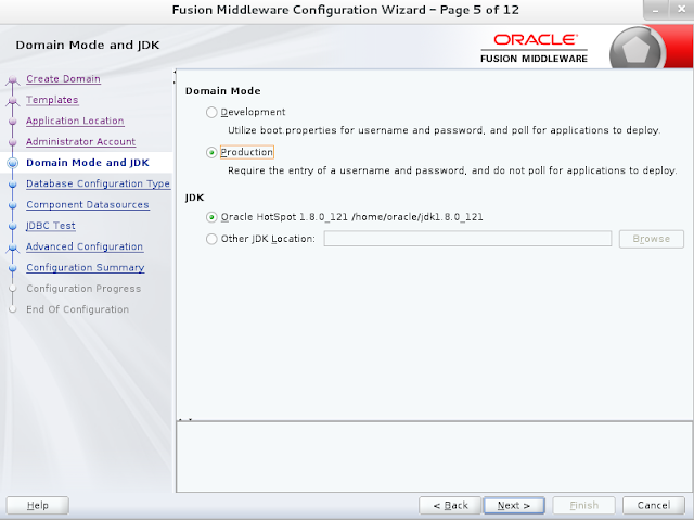 Weblogic domain creation step 5