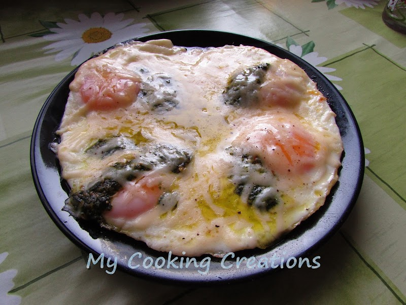 Яйца на очи с кашкавал и босилеково песто * Uova al formaggio e pesto genovese