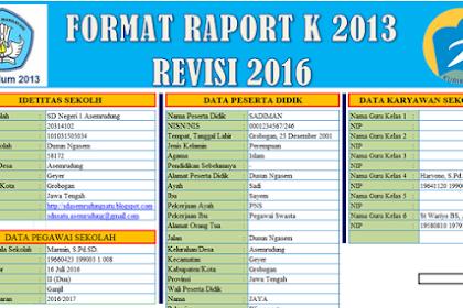 Raport Kurikulum 2013 SD Edisi Revisi 2016 Lengkap+Petunjuk Pengisian