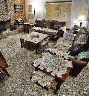 Sala repleta de dinheiro