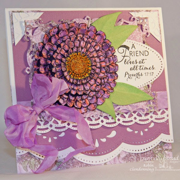 Our Daily Bread Designs, Zinnia, Zinnia and Leaves dies, Beautiful Borders dies, ODBD Blooming Garden Paper Collection