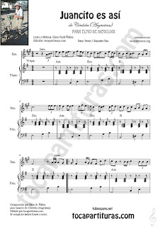 Soprano Sax y Saxo Tenor Partitura de Juancito es asíSheet Music for Soprano Sax and Tenor Saxophone Music Scores