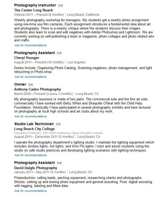 ARC Photo Studio Photography Resume