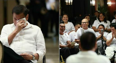 LOOK: President Duterte cries when a group of handicapped people sing for him