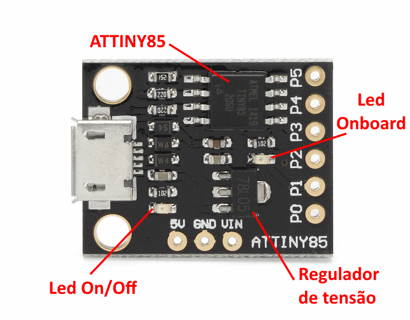 Placa_Digispark_ATtiny85_Detalhes Datasheet Arduino Micro on sd reader, power supply, case battery, pro ch340, media button, gba cartridge, housing model, motor pin placement, key ignition,