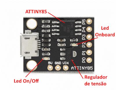 Digispark ATtiny85 conector micro USB