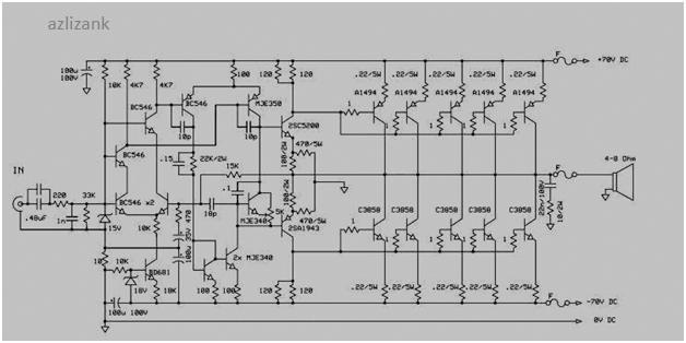 rangkaian power amplifier 1000 watt skema rangkaian elektronika dasar. Black Bedroom Furniture Sets. Home Design Ideas